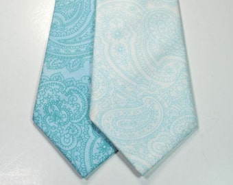 Paisley Neckties Custom Neckties Wedding Neckties Aqua Paisley Neckties Cotton Neckties Aqua Neckties