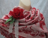 Repurposed Shawl Capelet Wrap Winter Christmas Red