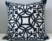 SALE - Navy Blue & White Pillow Cover, Decorative Pillow Case, Modern Outdoor Throw Pillow Cover, Geometric Trellis Sunbrella Cushion Cover