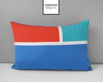 Colorful Sunbrella Pillow Cover, Blue & Melon Orange, Outdoor Pillow Cover, Modern Turquoise Color Block, Decorative Sunbrella Cushion Cover