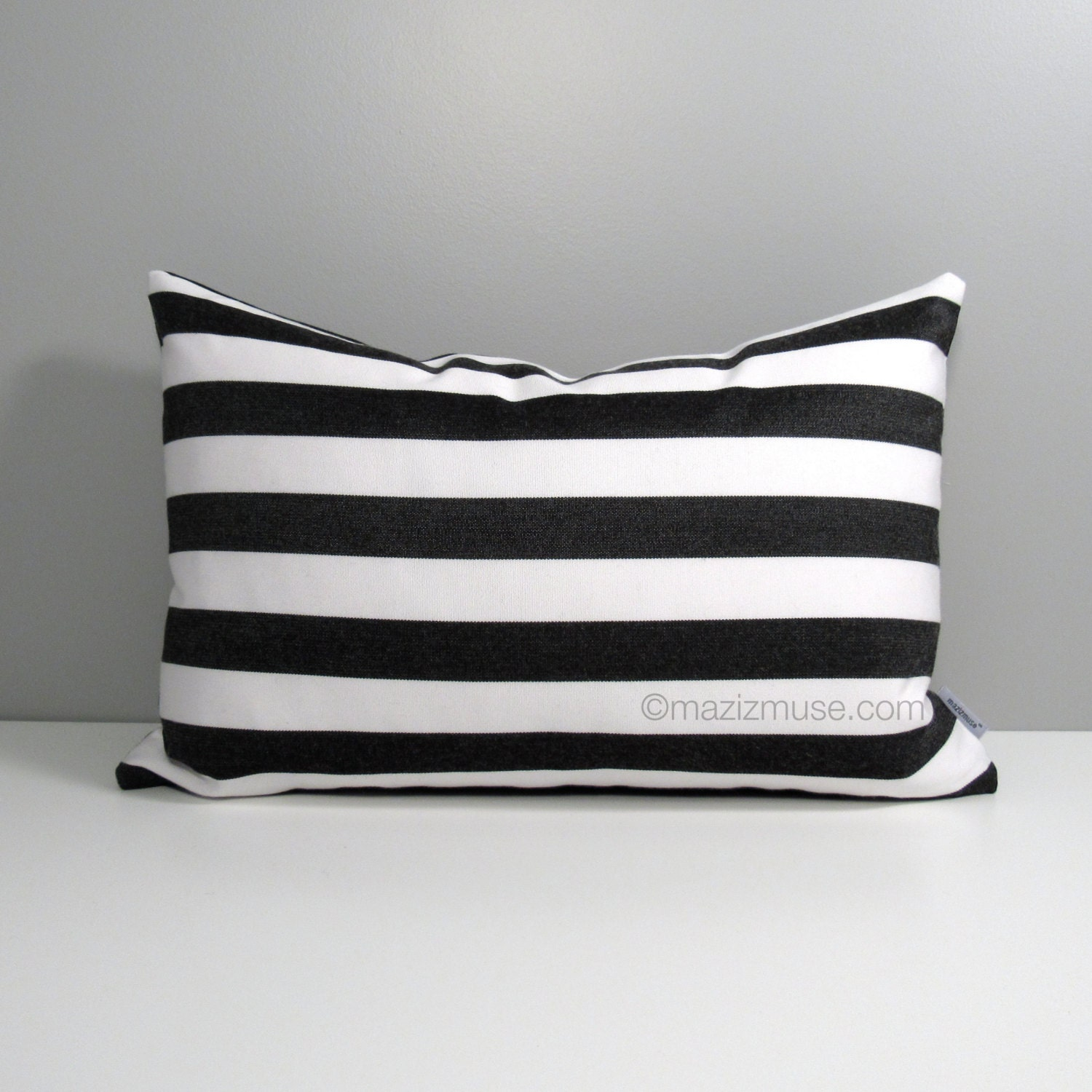 Black & White Striped Pillow Cover Modern Outdoor Pillow