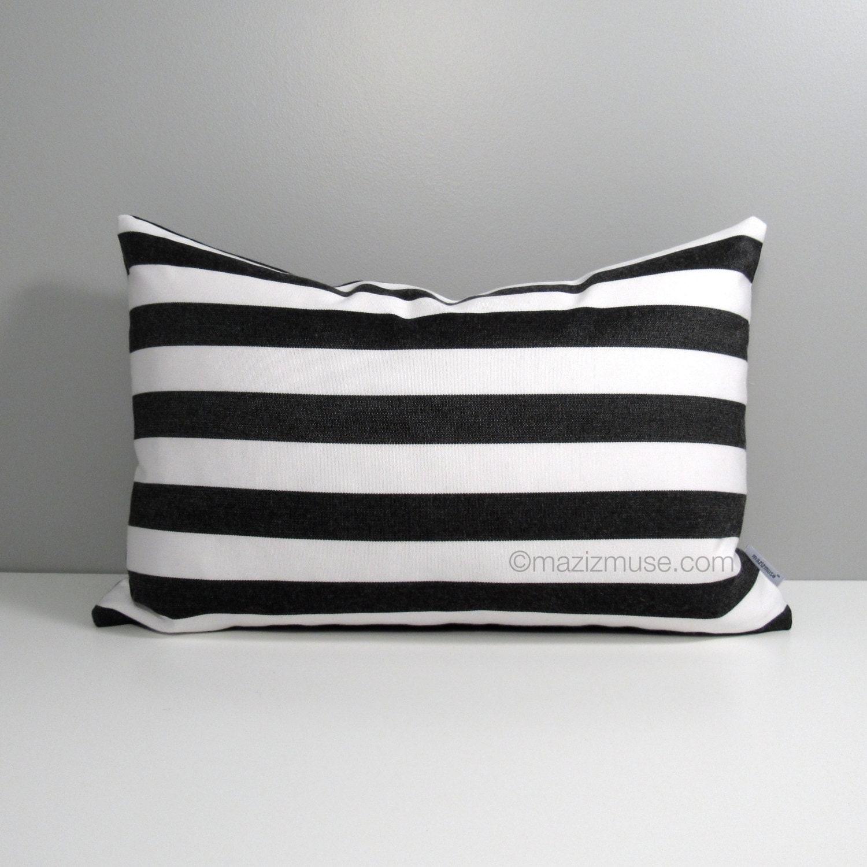 Modern Family Pillow Stripe : Black & White Striped Pillow Cover Modern Outdoor Pillow