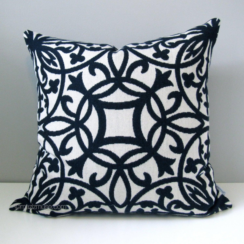 Decorative Pillows White : SALE Navy Blue & White Pillow Cover Decorative Pillow Case
