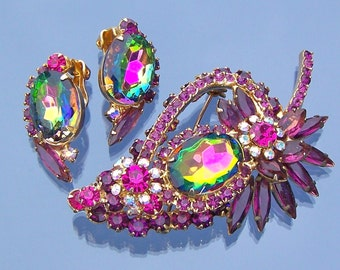 Rhinestone Brooch with Earrings Juliana D&E Delizza and Elster Vintage Costume Jewelry