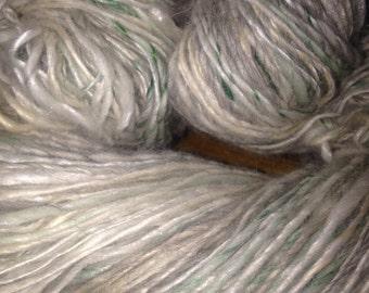 "189 Yards Luxury Alpaca, Merino, Silk, Tencel, Bamboo Handspun Single Ply Yarn ""Iced Green Tea"""