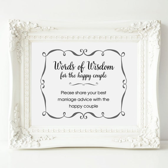 Wedding Advice Sign Words Of Wisdom Sign Wedding Shower