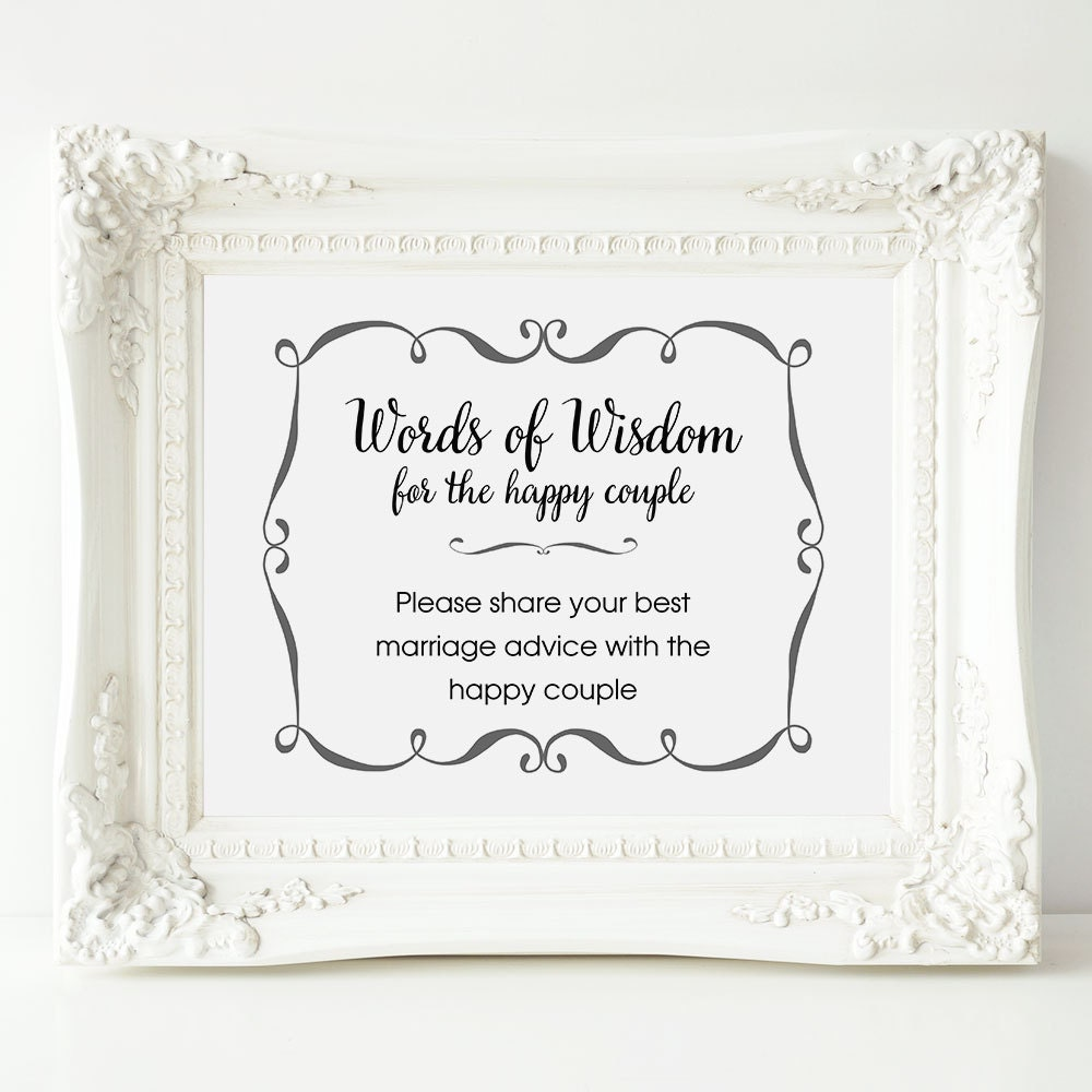 Wedding Advice: Wedding Advice Sign Words Of Wisdom Sign Wedding Shower