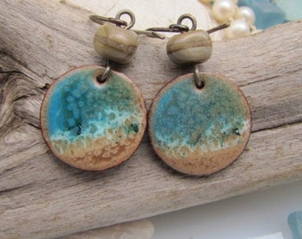 Ocean Blue Enamel Earrings Copper Jewelry