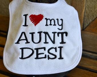 Personalized embroidered baby bib with custom saying I heart my aunt, uncle, grandma, mimi, mom, dad, poppa, granddad, daddy mommy