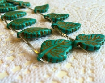 Bead Gallery | Turquoise Dyed Howlite Lead Stone | Natural beads | Leaf detail | Fourteen (14) pieces | Ready to ship!