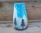 tree and sky vase-mini vase-nature pottery-woodland decor-ceramic vase-modern rustic pottery-decorative pottery-pottery bud vase