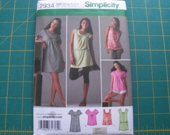 Simplicity 2934 Misses Knit Mini Dress or Tunic Top Sizes 6-14 sewing pattern