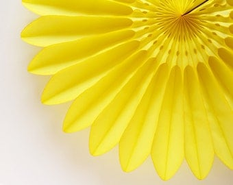 "18"" Yellow Flower Fan, Yellow Tissue Paper Fan, Yellow Paper Rosette, Wedding Decoration, Baby Shower Decor"