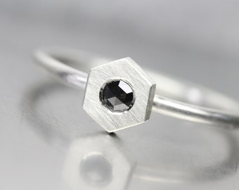 Tiny Honeycomb Black Diamond Silver Ring Rose-Cut Geometric Modern B&W Minimalistic Design - Jet Geo