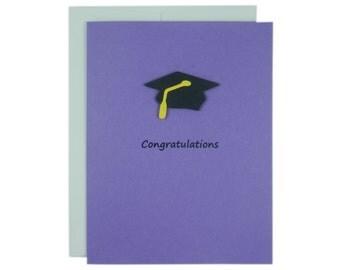 Purple Graduation Card Congratulations Graduation Hat Handmade Card Graduation Cap Handmade Greeting Card for Graduation Gift Congrats Grad
