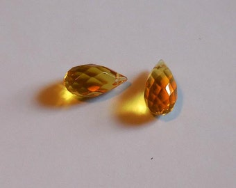 22x11 mm Faceted Glass Teardrop, Gold, top drilled