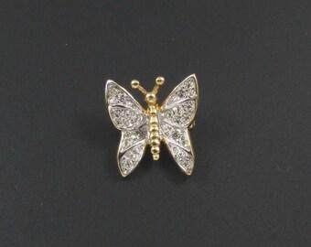 Rhinestone Butterfly Brooch, Rhinestone Brooch, Insect Brooch, Bug Brooch