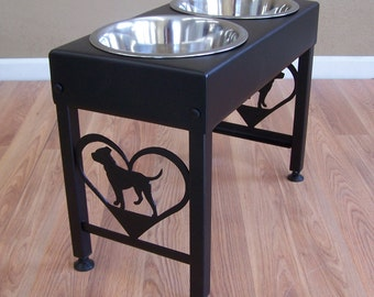 Pit Bull Terrier Elevated Dog Feeder Floor Stand  Bowl Holder Powder Coated Steel Metal Art Feeding Station