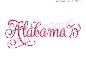 Alabama Fancy Calligraphy Script 3- Instant Download Machine embroidery design