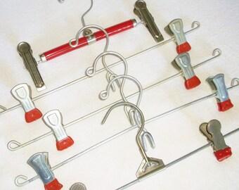 5 Vintage Metal & red Clip Pants / Skirt Hangers