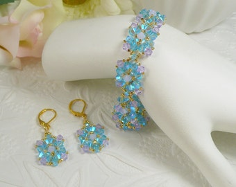 Woven Bracelet and Earrings in Swarovski ABx2 Blue and Lavender Crystal