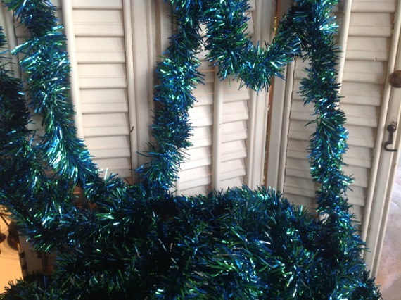 Vintage Tinsel Garland Green And Blue Midcentury Christmas