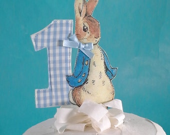 Shabby Chic Peter Rabbit cake topper, fabric Peter Rabbit First birthday party decoration H153