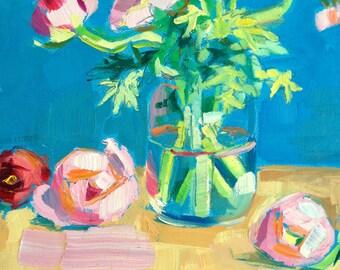 pink ranunculus painting
