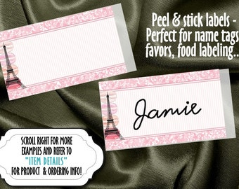 10 Name Tags, Food Label Stickers, French, Paris, Eiffel Tower, Macarons, Pink Color Scheme, Wedding, Baby Shower, Bridal Shower, Birthday
