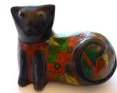 Vintage Tonala Burnished Pottery Mexican Folk Art Cat Figure Mexico Pottery Cat
