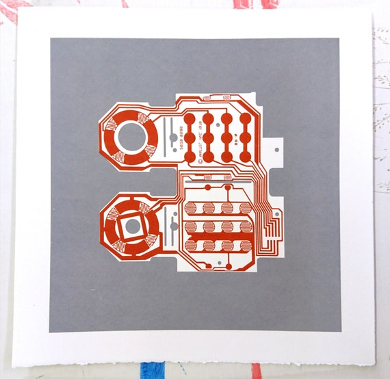 Mattel Intellivision controller screen print red and grey art silkscreen circuit portrait retro console
