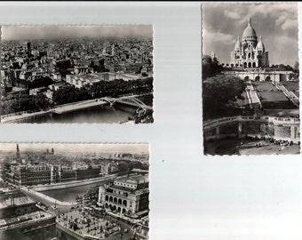 Paris France, Postcard 3 Black and White Unused Post Cards of Places in Paris, Basilique du Sacre Coeur,Panorama sur Paris,Palais de Justice