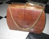 """40""""s/50's Vintage Lizard Kelly Bag/Vintage Brown Leather Kelly bag"""