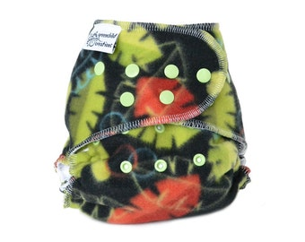 Cloth Diaper Cover OS, Fleece - Turtles, black, green, orange