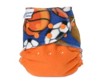 Cloth Diaper Cover OS, Fleece - Sports, basketball, soccer, football