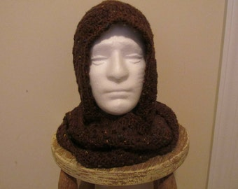 Scoodie Hooded Scarf in Brown Tweed Ready to Ship!