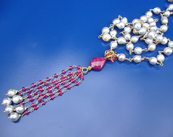 Ruby Saltwater Akoya Pearl Gold Tassel Wire Wrapped Necklace