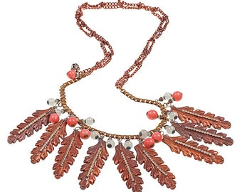 Vintage Copper Feather Necklace   N3706