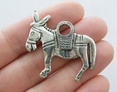 BULK 20 Donkey charms antique silver tone A9
