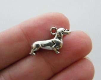 8 Sausage dog charms antique silver tone D59