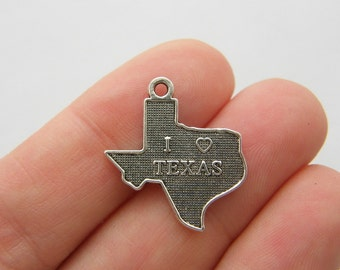 10 I love Texas charms antique silver tone WT197