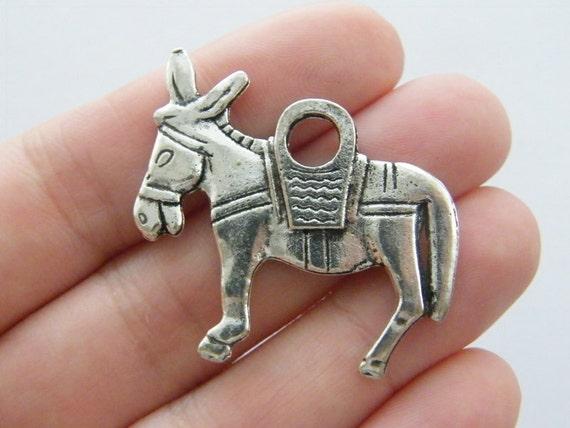 BULK 20 Donkey charms antique silver tone A9