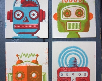 ROBOT Set of 4 Screen Printed Postcards