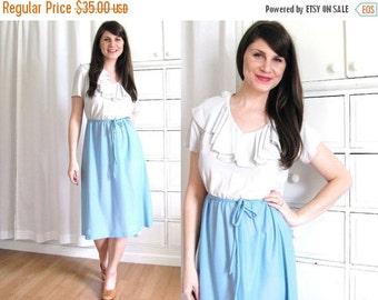 ON SALE Ruffle Dress / 70s Dress / Two Tone Dress