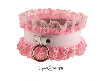 Sale- BDSM Collar Miss Fifi DDLg Sissy Maid Fetish Pink Bondage Collar - Kitten Pet Play Slave discreet Day Submissive Valentine Gift