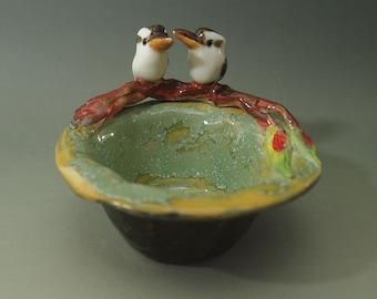 Kookaburra tea light candle holder ceramic bird figurine trinket dish green yellow tones Anita Reay AnitaReayArt