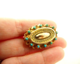 Turquoise and Gold Locket Back Brooch - 9k Gold - Memorial Jewelry - Victorian - Antique