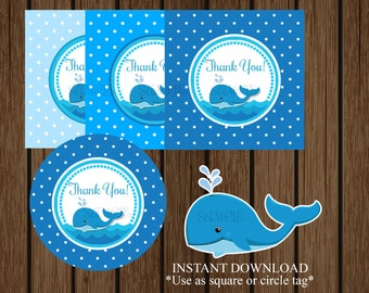 Whale Baby Shower Favor Tag, Whale Birthday Favor Tag, Nautical Baby Shower, Nautical Birthday, Instant Download