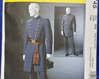 Sewing Pattern McCall's 4745 Men's Civil War Coat Single or Double Breasted Pants Trousers Multi-Sized Uncut Unused Costume FREE Shipping