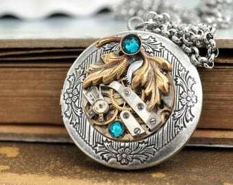 steampunk locket necklace, steampunk jewelry, EVERGREEN, leaf necklace, antiqued silver photo locket necklace, watch movement locket